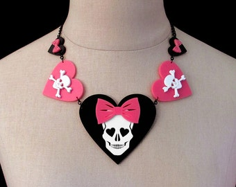 The Dangerous Heart of a Smitten Girl Necklace - Skull & Heart Laser Cut Necklace (C.A.B. Fayre Original Design)