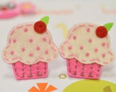 Set of 6pcs handmade felt cupcake--dark carnation (FT834)