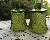 Reserve for Melanie 2 Vintage 1970s Avocado Green Diamond Point Home Interior Votive Cups Candleholders