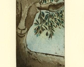 goat art print, animal wall print, limited edition art, country art print, farm animal art print, country art print, olive tree art