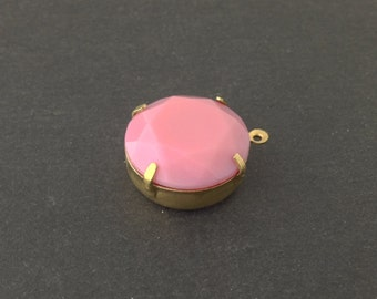 Vintage Opaque Pink Faceted Glass Stone 1 Loop Brass Setting 20mm (1) rnd016B