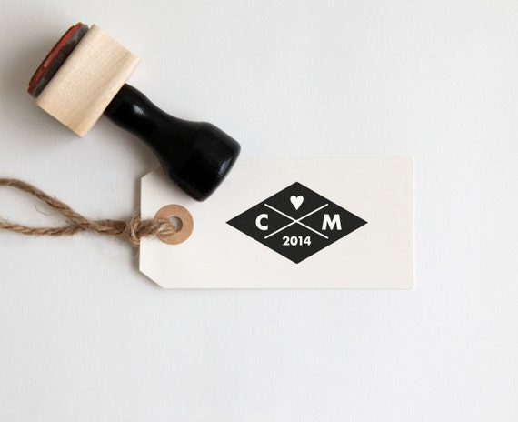 Personalized Wedding Stamp with Initials + Heart (Wood Mounted) Modern Diamond Design, Custom Stamp with optional wooden handle (C255)