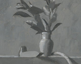 Grayscale Vase with Leaves - Original Oil Painting