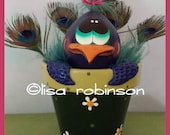 POPPYCOCK peacock handpainted gourd bird feather eye daisy flower pot ofg prim chick lisa robinson