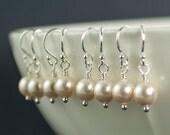 Bridesmaid Set of 6 Pearl Earrings. Cream Swarovski Pearl Earrings. Bridal Jewelry. Sterling Silver Six Pairs of Earrings