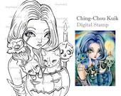 Blue Pumpkin - Digital Stamp Instant Download / Cat Candle Skeleton Gothic Fantasy Art by Ching-Chou Kuik