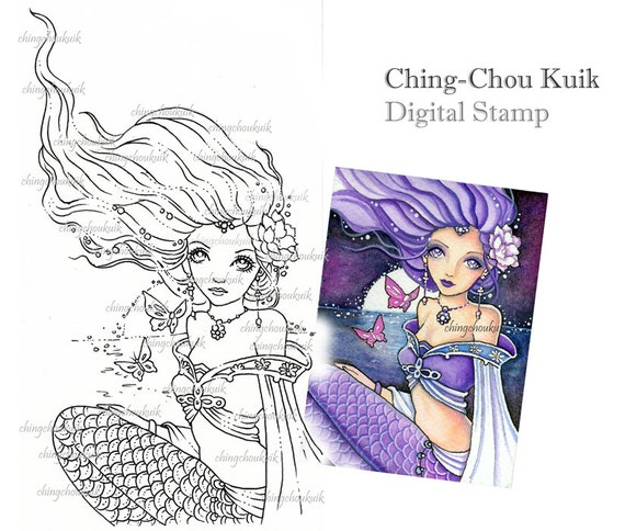 Sinking Moon - Digital Stamp Instant Download / Fantasy Kimono Mermaid Art by Ching-Chou Kuik