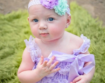 Baby Headband - Purple Lavender Mint Trio On A Lavender Lace Headband - Baby Girl Headband  -Birthday Headband - Photo Prop