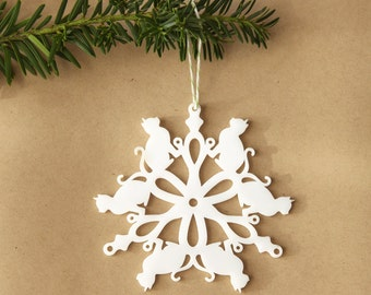 Christmas Tree Ornament - Kitty Cat Snowflake Ornament by peppersprouts