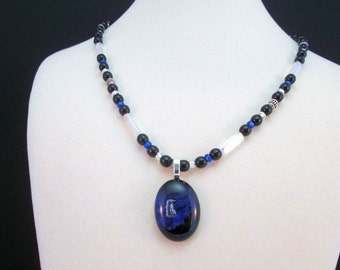 Cobalt Blue Black and Silver Dichroic Glass Necklace - Fused glass and crystals and Bali Silver