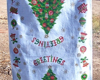 Vintage Mid Century CHRISTMAS Whimsical Kitchen Towel