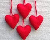 Red felt heart ornament set of four