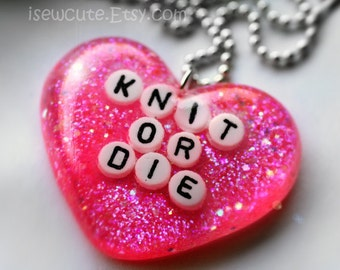 Knit or DIe, Necklace, Jewelry for Knitters, Knit or Die Necklace, Pink Heart Sparkly Modern Glitter Heart Pendant with Chain by isewcute