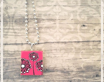 Scrabble Tile Art Pendant - Mod Garden Pink - Scrabble Jewelry Charm - Customize - Choose Your Style