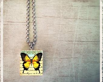 Scrabble Tile Art Pendant Necklace - Butterfly Script Yellow - Scrabble Jewelry Charm - Customize