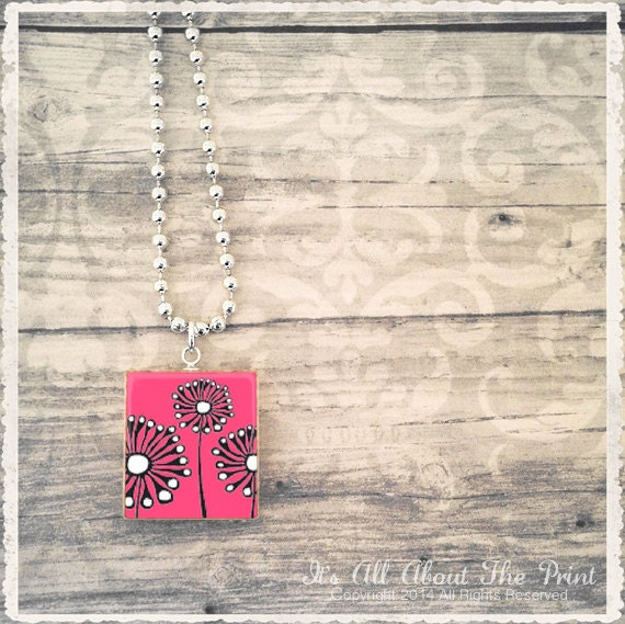 Scrabble Tile Art Pendant - Mod Garden Pink - Scrabble Jewelry Charm - Customize - Choose Your Style