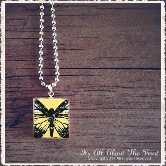 Scrabble Tile Art Pendant - Yellow Butterfly - Scrabble Jewelry Necklace - Customize - Choose Your Style