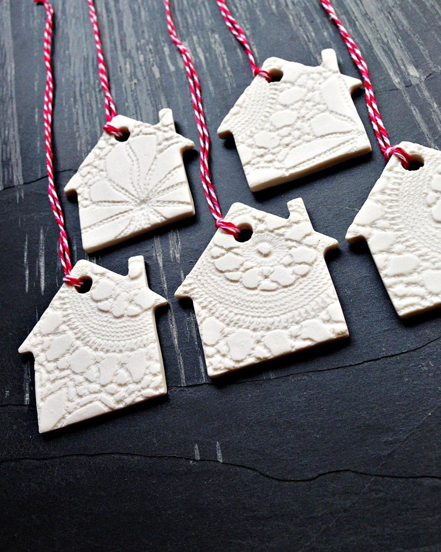 5 Christmas Ornaments White Ceramic Christmas Tree House