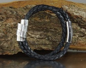 Mens Double Wrap Braided Leather Bracelet, Sterling Silver, Stainless Steel, Mens Jewelry, Mens Bracelet, Leather Bracelet United Kingdom