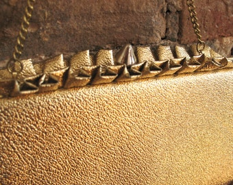 Gold Ruffles | Vintage 1960s Metallic Gold Clutch Evening Purse Kiss Lock and Optional Chain Handle