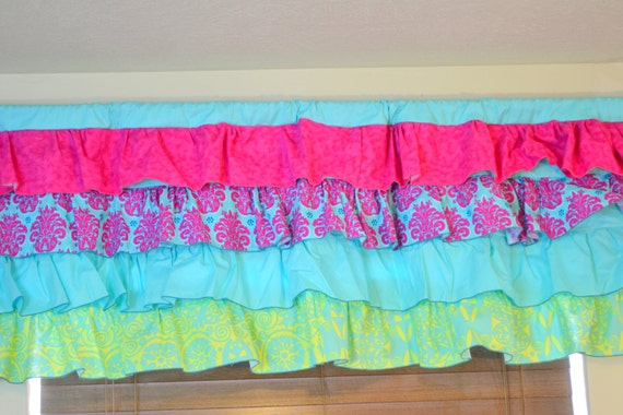 Items Similar To Ruffle Curtain Valance Hot Pink And Turquoise Made To Order On Etsy