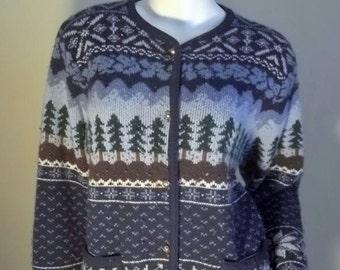 Vintage Fair Isle Nordic Snowflake PINE TREES Cardigan Sweater M