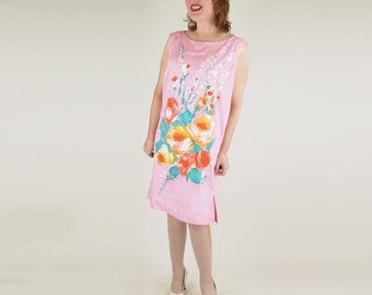 60s Modern Pink Flowered Cotton Shift Dress XL plus size