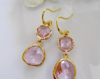 Pink Princess Earrings, Pink Teardrop Earrings, Gold Edged Earrings, Maid of Honor Gift, Bridesmaid earrings, Pink Wedding
