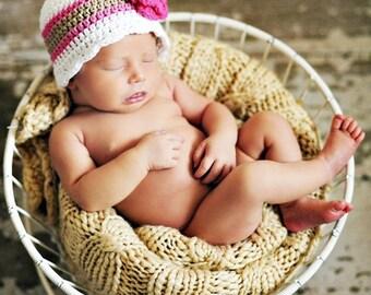 9 Sizes Girls Hat Baby Girl Hat Baby Hat Toddler Girl Hat Toddler Girl Womens Hat White Pink Khaki Crochet Flower Hat Flapper Pick Your Size