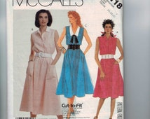1980s Vintage Sewing Pattern McCalls 3118 Misses Button Front Shirt Dress Misses Size 16 18 20 Bust 38 40 42 80s 1987  99