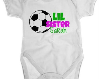 Little Sister Soccer Shirt or Bodysuit - Personalized Sibling Shirt