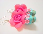 Turquoise and Bright Pink Roses Day of the Dead Sugar Skull Earrings Large