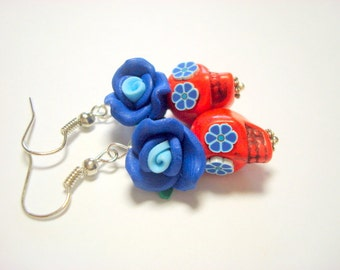 Red and Blue Day of the Dead Roses and Sugar Skull Earrings