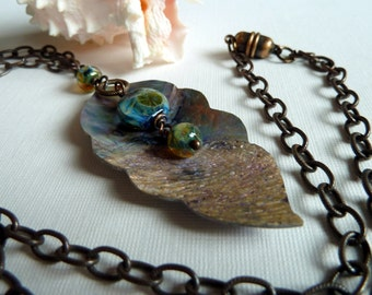 Water Sparks* Shell & Artisan Lampwork Necklace Ocean Theme Blue Green Silver Gold Earthy Organic Jewelry Nature Sea Colors Rustic Necklace