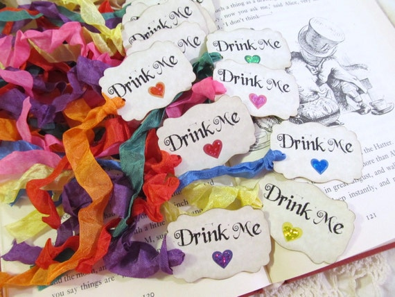 Drink Me Party Favor Tags with rainbow ribbons - Rainbow Sparkle Hearts - Alice in Wonderland - Set of 18
