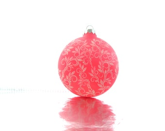 Hot Pink Hand Painted Glass Christmas Ornament Pink and white
