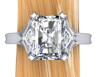 Platinum Diamond Engagement Ring, Emerald Cut 2 Carat, 3 Stone Ring with Architectural Setting - Free Gift Wrapping