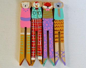 Set of 4 Clothespin Animals