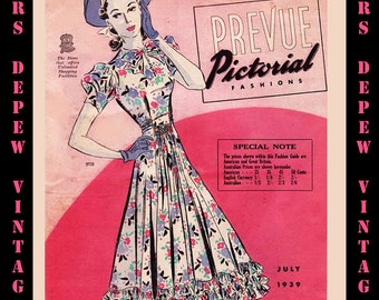 1930's Vintage Sewing Pattern Catalog Rare Pictorial Prevue From July 1939 Digital Copy PDF -INSTANT DOWNLOAD-
