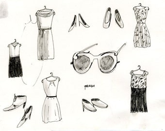 Stylish Clothing, drawing on paper