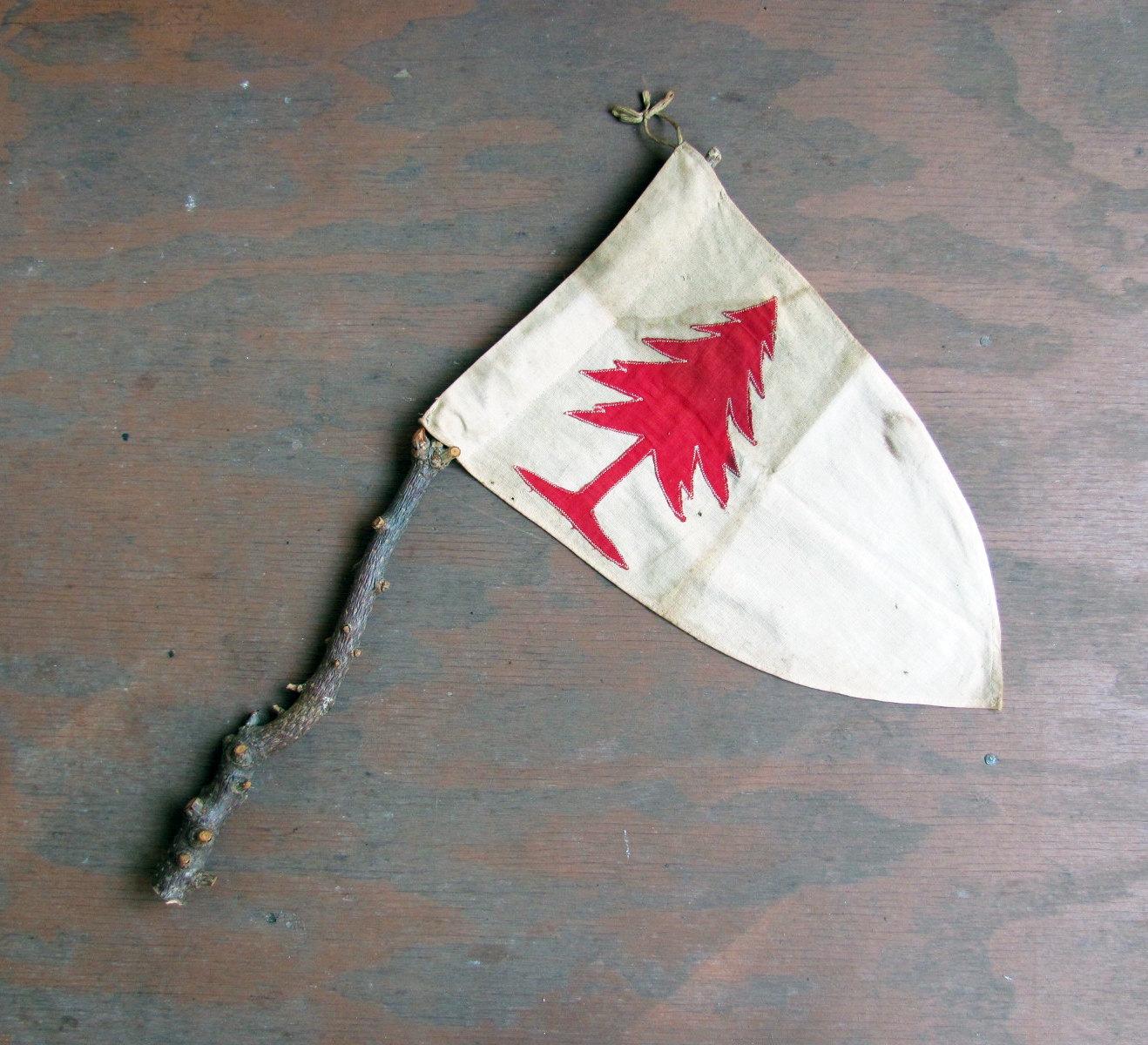 Rare Antique Boy Scouts Pine Tree Patrol Flag