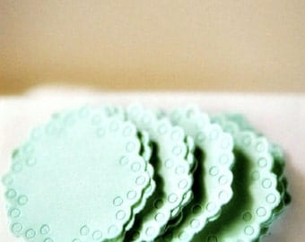 Pastel Mint Doily Envelope Seals for Baby Announcement | Paper Doily Stickers | Baby | Gender Neutral Mint Doily Embellishments