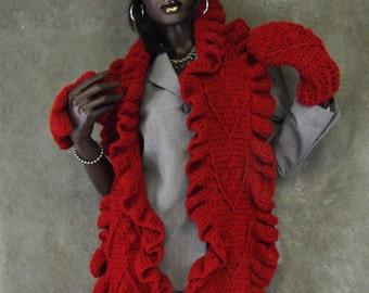Accessory,Women,Crochet Scarf Set,Crochet Hat, Mittens,Skull Cap,Red,Winter Hat,Scarves and Wraps,Crochet Wrap