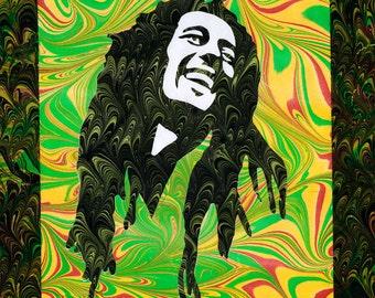 "Bob Marley Pop Art Ebru Portrait marbling print 5""x7"" archival Giclee Print"