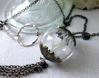 Feather Glass Orb Tassel Necklace - OOAK, Long Statement Necklace - Boho Vintage Wedding