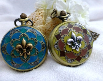 Fleur-De-Lis Locket Watch Necklace - Versailles Steampunk Enamel Watch in Teal Green & Yellow Mauve