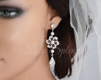Pearl Bridal Earrings Flower Wedding Earrings Vintage Bridal Earrings Swarovski Crystal Wedding Jewelry SABINE LONG EARRINGS