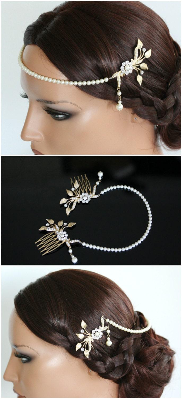 wedding forehead band bridal chain pearl halo headpiece