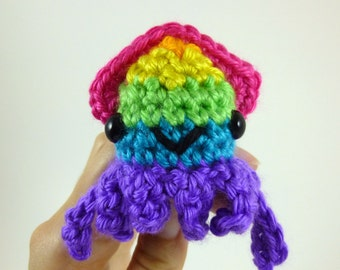 Rainbow Squid / Amigurumi Squid / Crochet Squid / Cute Squid Plush / Squid Plushie - Bright Rainbow Baby Squid, Purple Base - Made to Order