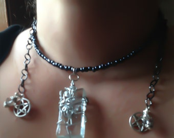 Wrap Necklace with Clear Glass Pentacles Swarovski Crystal and Bali Sterling Silver